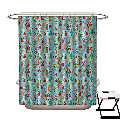 Fantasy Shower Curtains Waterproof Red Riding Hood Tale