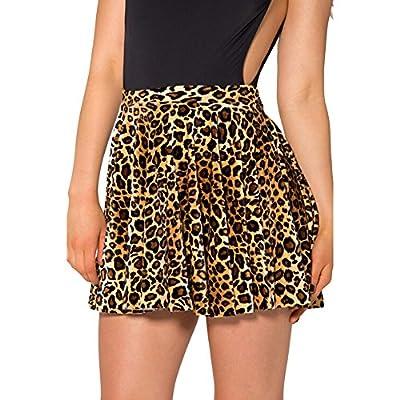 Women's Leopard Print Stretchy Pleated Mini Skater Skirt