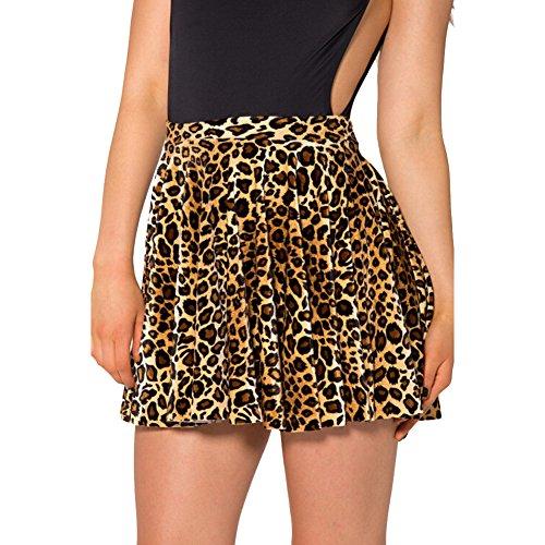 Women's Leopard Print Stretchy Pleated Mini Skater Skirt -