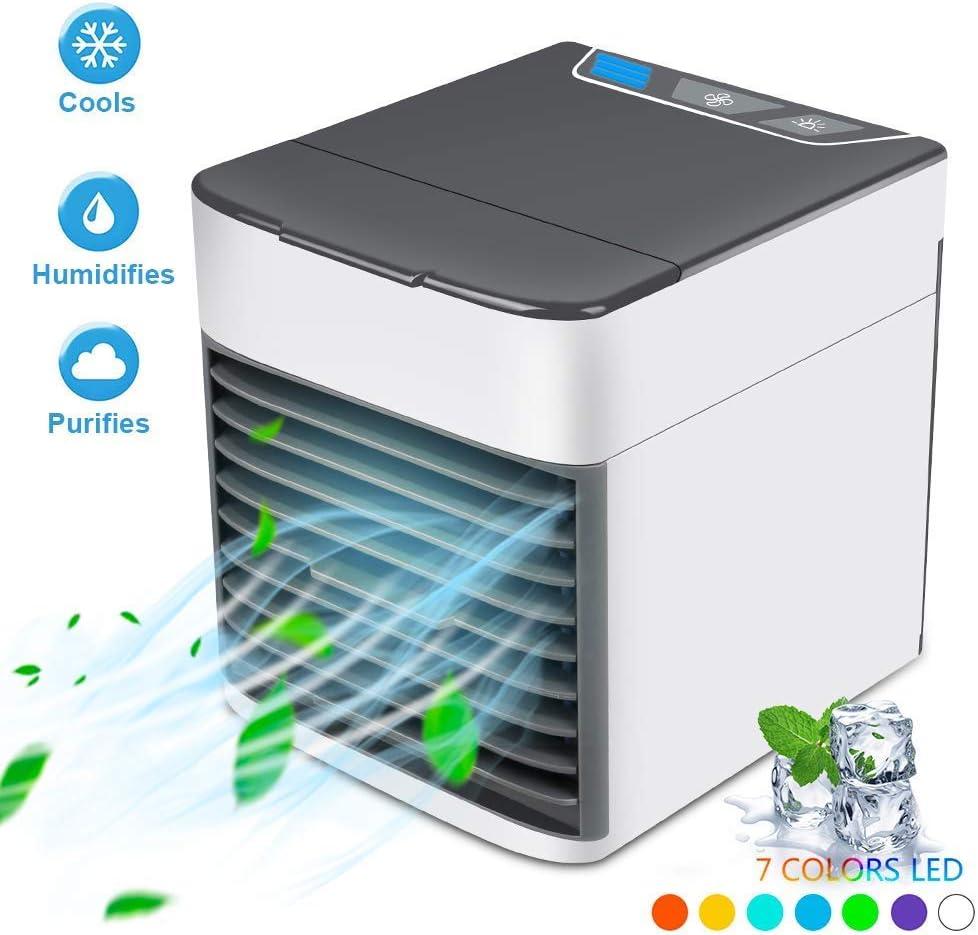 Maison Uni-Wert Refroidisseur dair Climatiseur Portable Mini Air Climatiseur 3 en 1 Air Cooler Humidificateur Purificateur dair USB Ventilateur 3 Fichiers 7 Couleurs LED Climatiseur pour Bureau