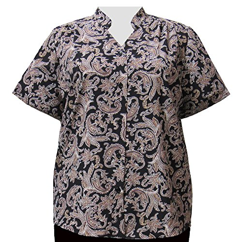 Paisley Taupe Collar (A Personal Touch Taupe Paisley Design Women's Plus Size Mandarin Tunic - 6X)