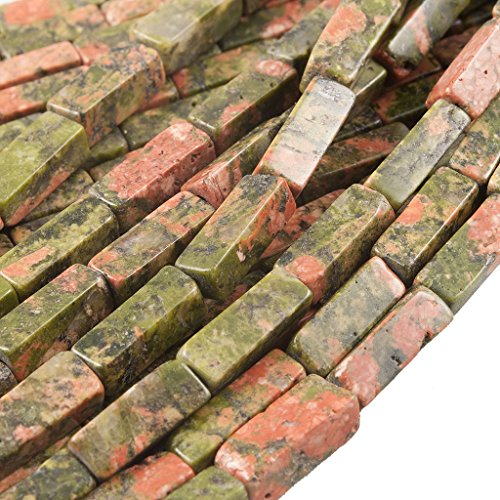 Beads Ok, DIY, Unakite, Genuine, Natural, 4x4x13mm, Square-Rectangle Semi-Precious Gemstone Bead, About 38cm a Strand. (Please Click to See Other Options.)