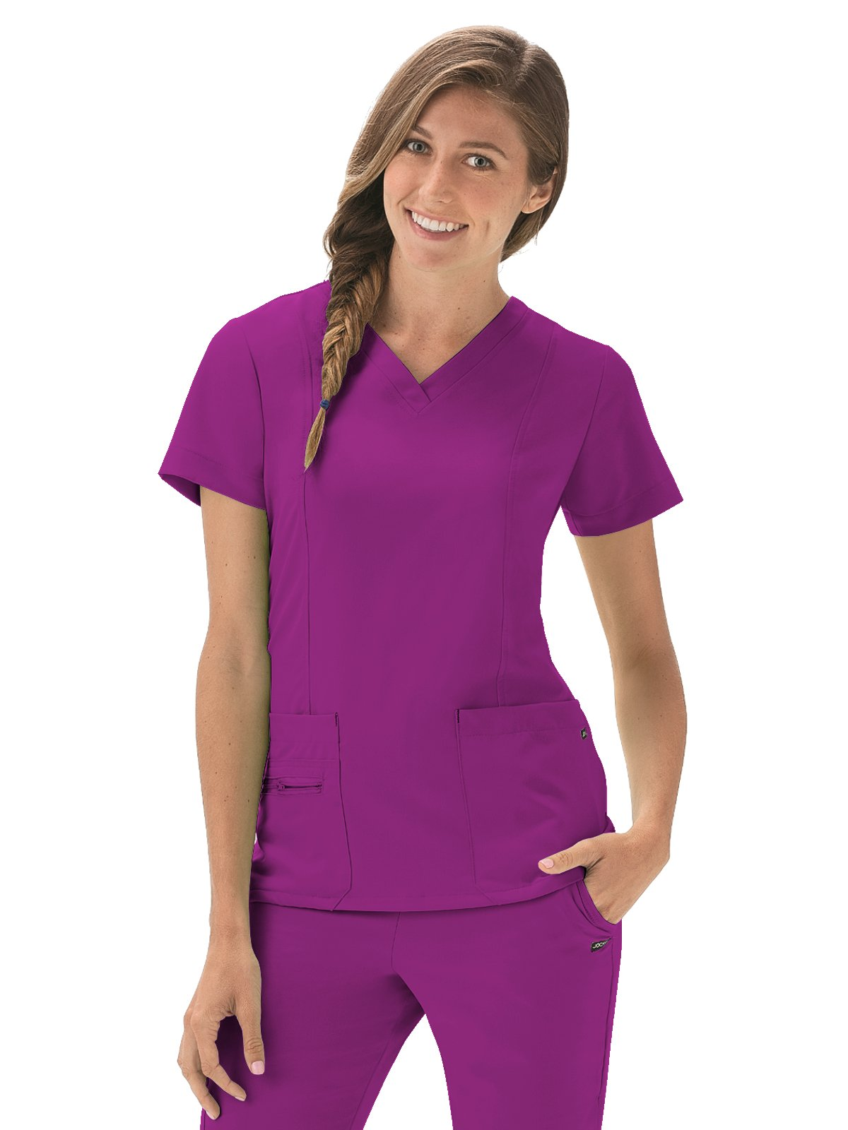 Modern Fit Collection by Jockey Women's Zipper Pocket V-Neck Solid Scrub Top XX-Large Plumberry Wine