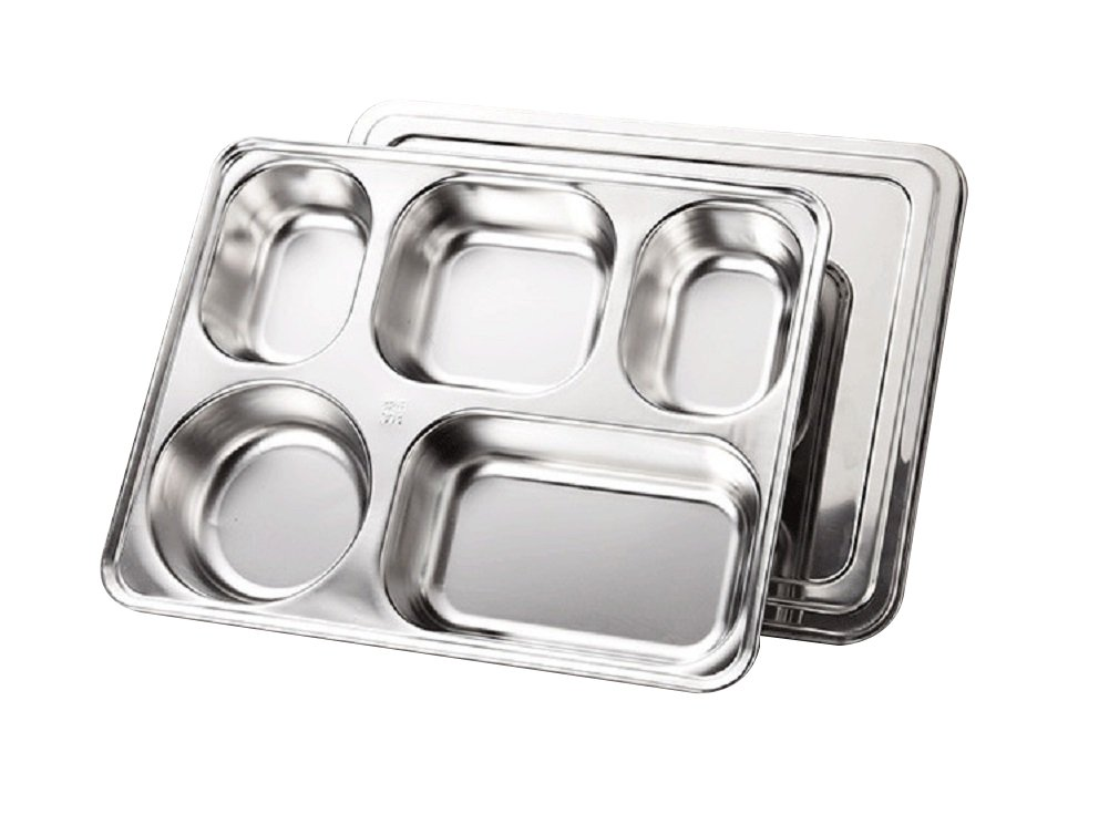 Food Stainless Steel Plate Tray Pack of 2 by Yinasen