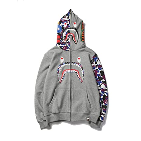 Bape Hoodie Boys|Fashion Bape Half Camouflage Shark Head Zip Sweater Black Men Boys: Amazon.es: Ropa y accesorios