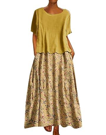 b40bea5846747 Sttech1 Women Vintage Loose Dress O-Neck Broken Flower Print Short Sleeve  Maxi Dress T