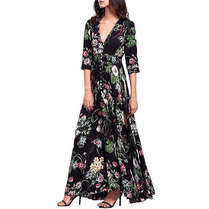 6b0bd9a952a Fanteecy Women s Split Floral Print Button up Flowy Half Sleeve Boho Maxi  Dress Summer Beach Party