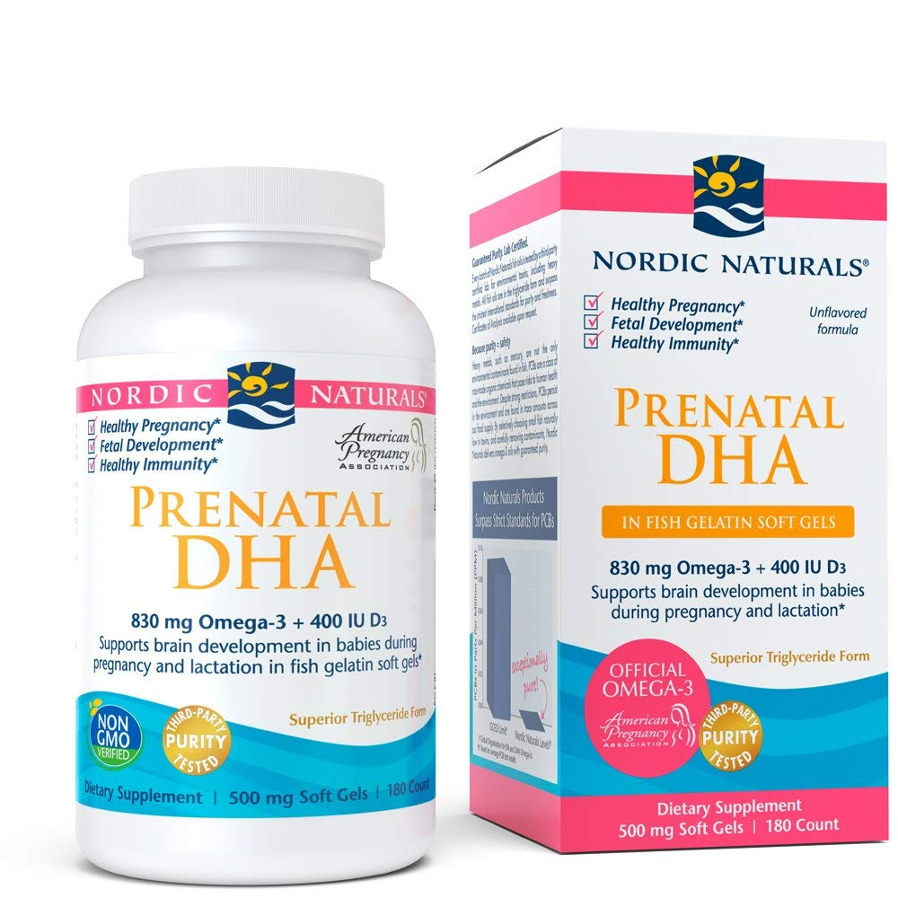 Nordic Naturals Prenatal DHA - Fish Gelatin DHA, Prenatal Support for Expecting Mother and Baby Development, 180 Soft Gels by Nordic Naturals