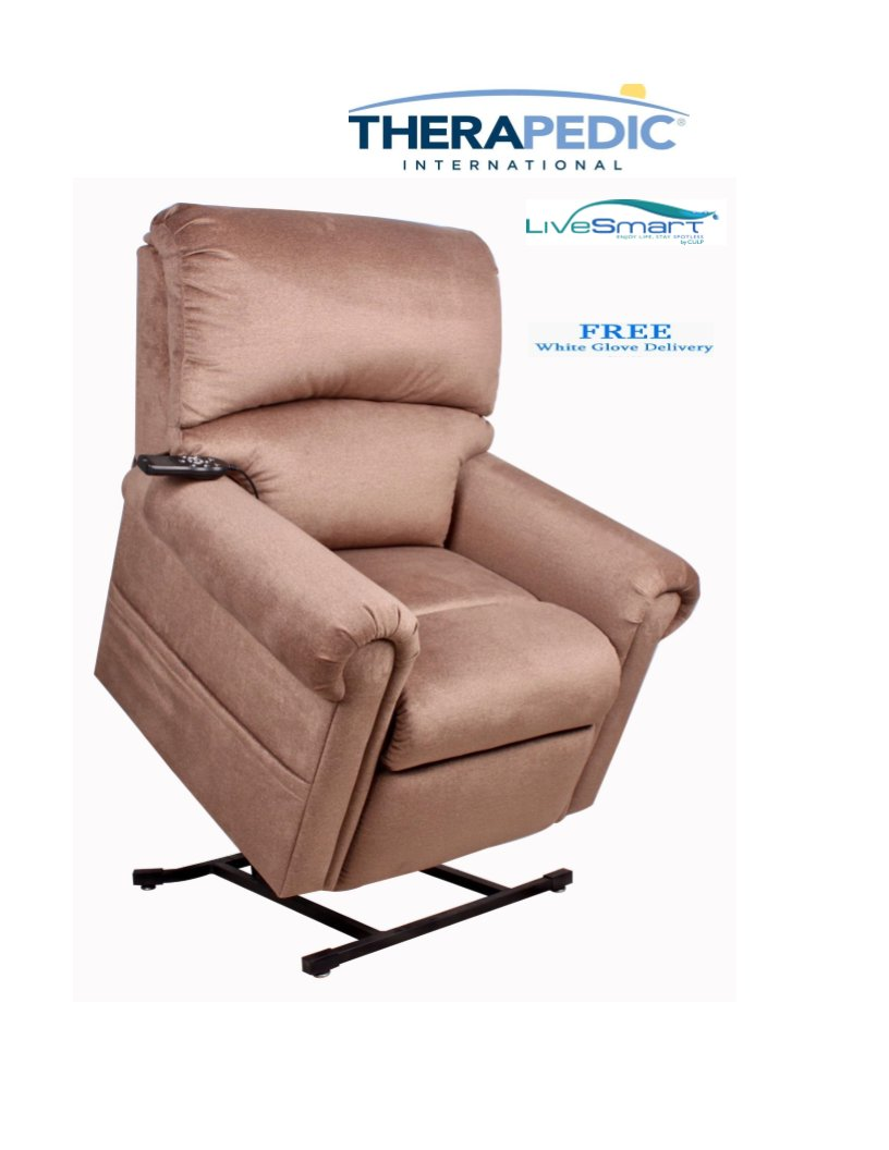 THERAPEDIC Lift Chair Recliner with Carbon Heat & Sonic Massage, Stain Resistant ''LiveSmart'' Fabric For Easy Care, White Glove Delivery is Included