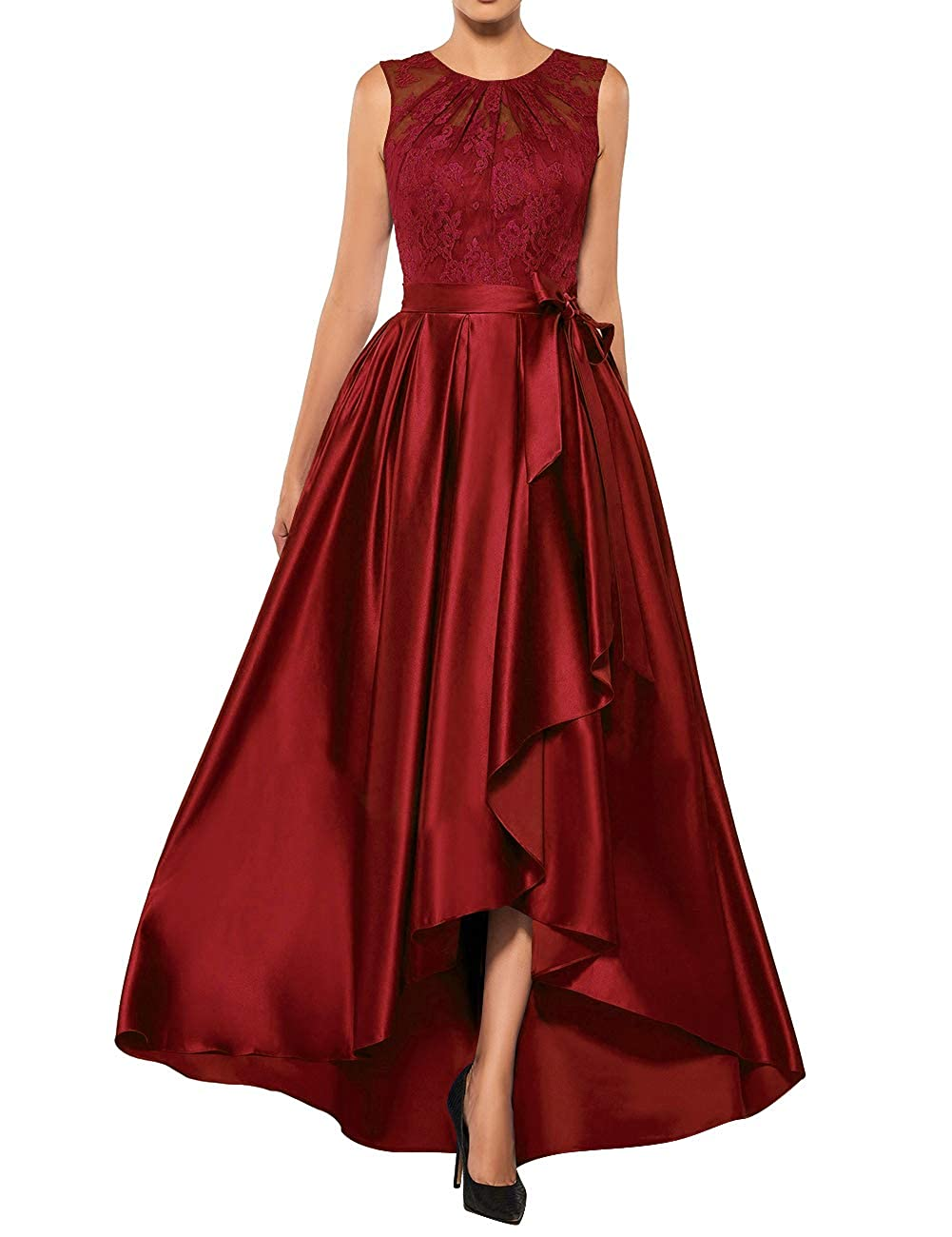 Burgundy Mother The Bride Dresses Lace High Low Formal Evening Party Gown A Line Prom