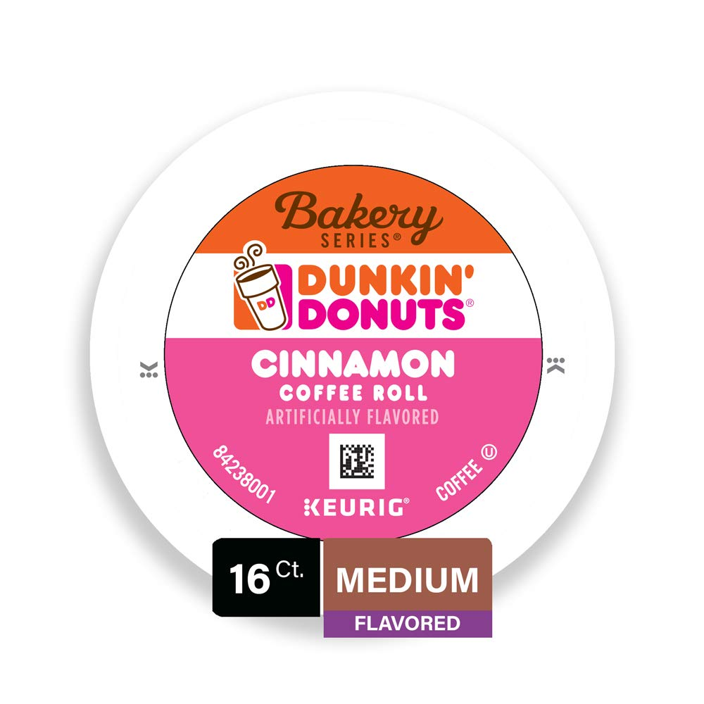 Dunkin' Donuts Bakery Series Cinnamon Coffee Roll Flavored Ground Coffee K-Cup Pods for Keurig Brewers, 16 ct