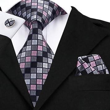WOXHY Corbata de los Hombres Sn-482 Conjunto de Gemelos de pañuelo ...