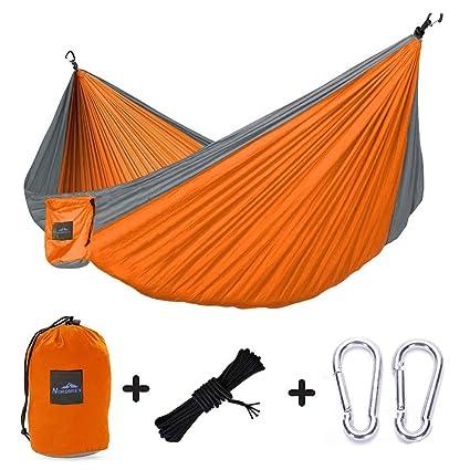 Nordmiex Double Portable Camping Hammock Upgraded Carabiners Portable Hammock with Tree Straps Indoor /& Backyard Hammock Holds 600 lbs! Easy Setup Hammock