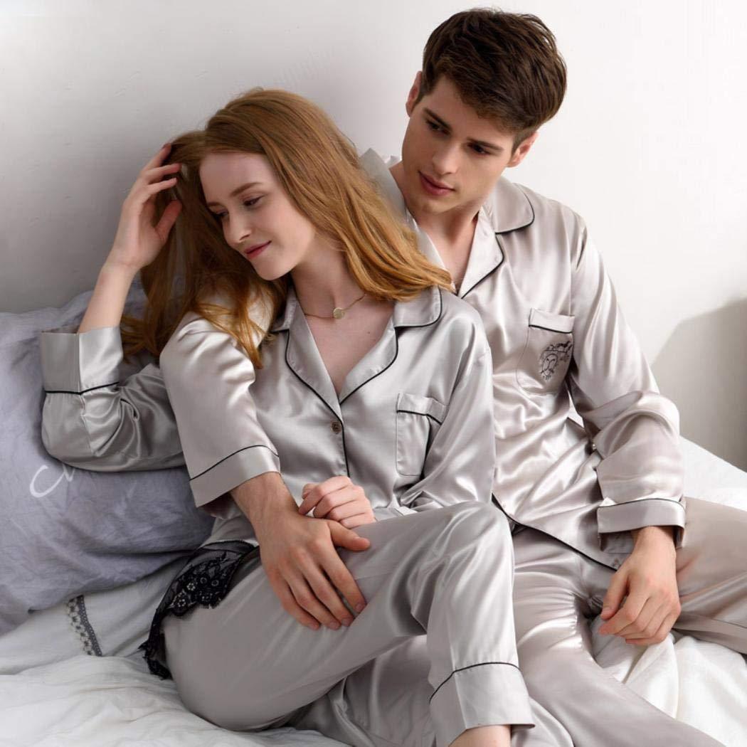 Couple Spring Silk Satin Sleepwear Women Lace Embroidery Homewear Men Set
