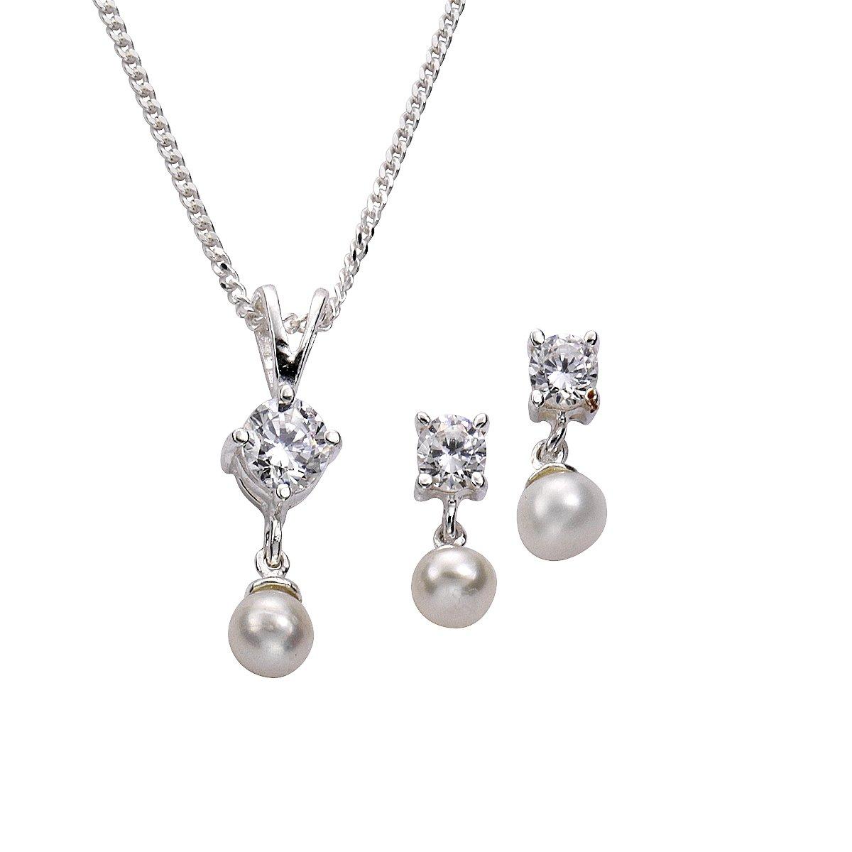 Zeeme Basic - 500201208-42 - Parure Collier et Boucles d'Oreilles Femme - Argent 925/1000-4.7 gr - Oxyde de Zirconium - Perle d'eau douce - Blanc - 42 cm B0064WOIZG