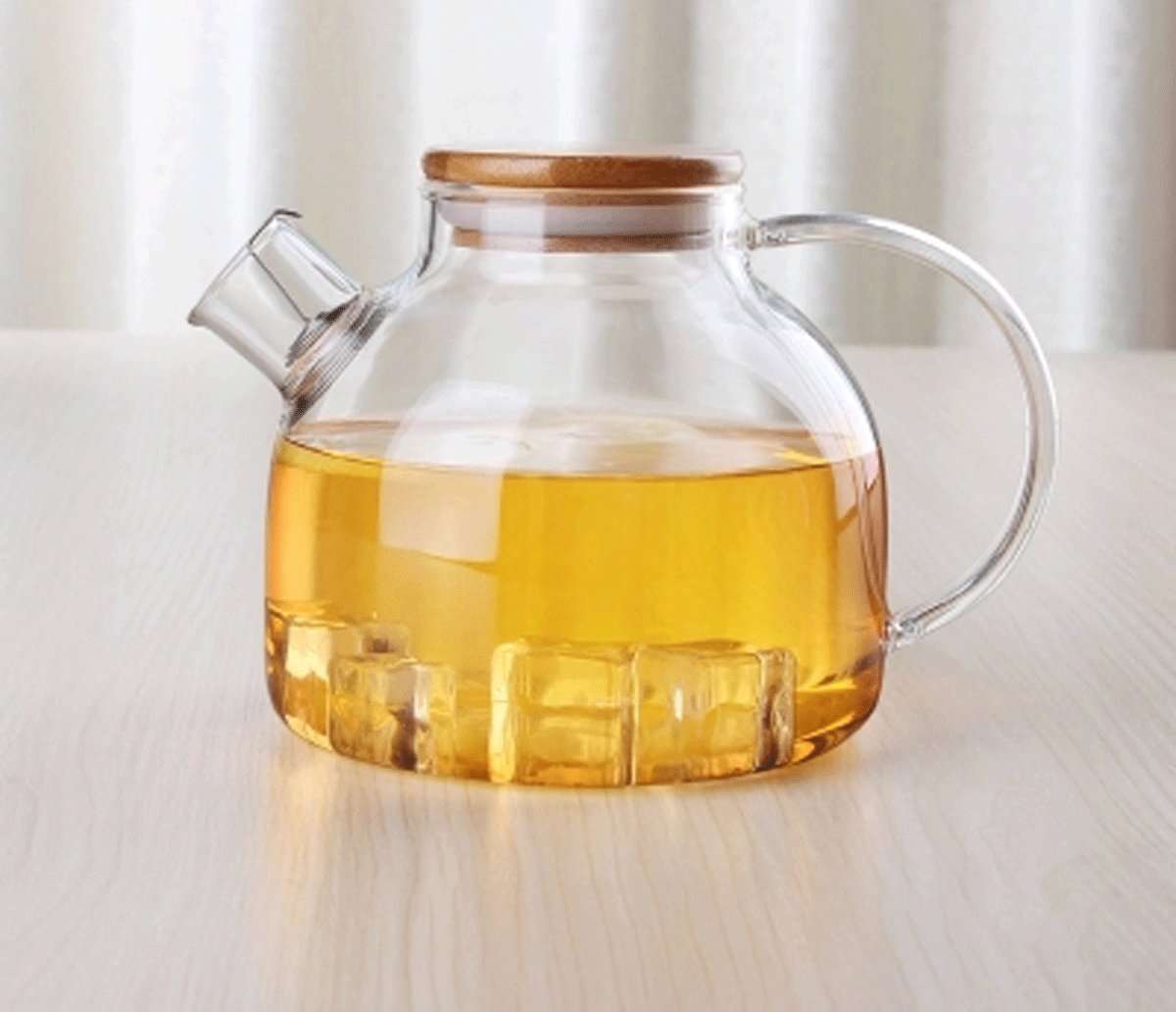 Popowbe Hermetic Seal Glass Pitcher With Lid and Spout Great for Homemade Juice & Iced Tea or for Glass Milk Bottles (1L with Wooden Lid)