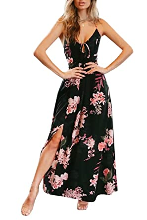 b83fa0af00aa Sherrylily Women Floral Printed Lace Up Backless Slit Side Maxi Dress  (Small, Black)