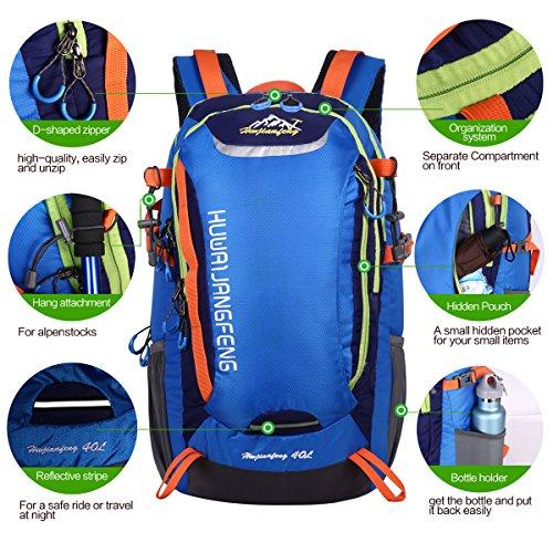 HWJIANFENG 30L Mochilas de Senderismo para Montaña de Acampadas de Ordenador al Aire Libre de Nylon de Diaria Mochilas de Excursion para Viajes Unisex de Ciclismo Color Azul Azul