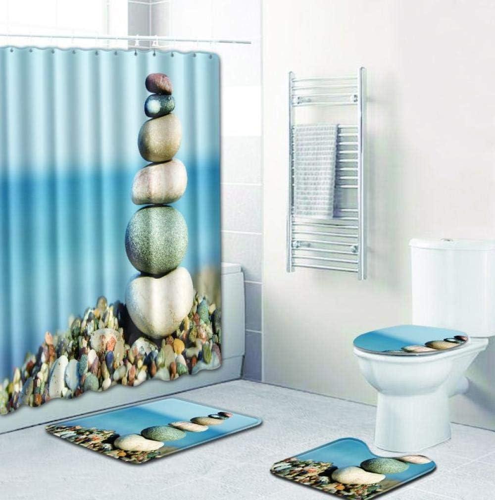 Cxypeng WC Badematten Badteppich,Stein Duschvorhang vierteilige Badezimmermatte Teppich Duschmatte-001/_45 75,Badezimmer Vorleger