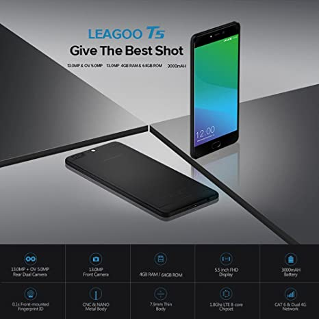 LEAGOO T5 4G Smartphone 5,5 pulgadas FHD Octa-Core 4 GB RAM + 64 ...