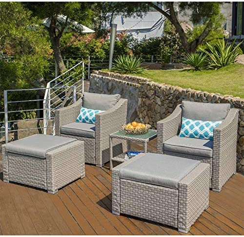 COSIEST 5-Piece Outdoor Furniture Lounge Set Warm Gray Wicker Sectional Sofa w Thick Cushion