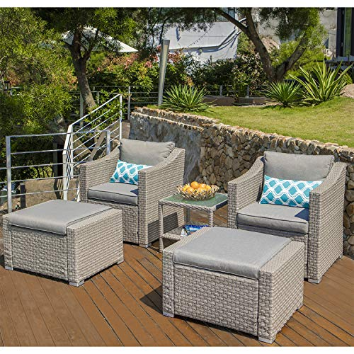 COSIEST 5-Piece Outdoor Furniture Lounge Set Warm Gray Wicker Sectional Sofa w Thick Cushions, Glass-Top Table, 2 Ottomans, 2 Teal Pattern Pillows for Garden, Pool, Backyard
