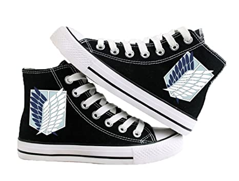 Attack on Titan Shingeki No Kyojin Wings of Liberty Cosplay Shoes Canvas Shoes Sneakers White/Black