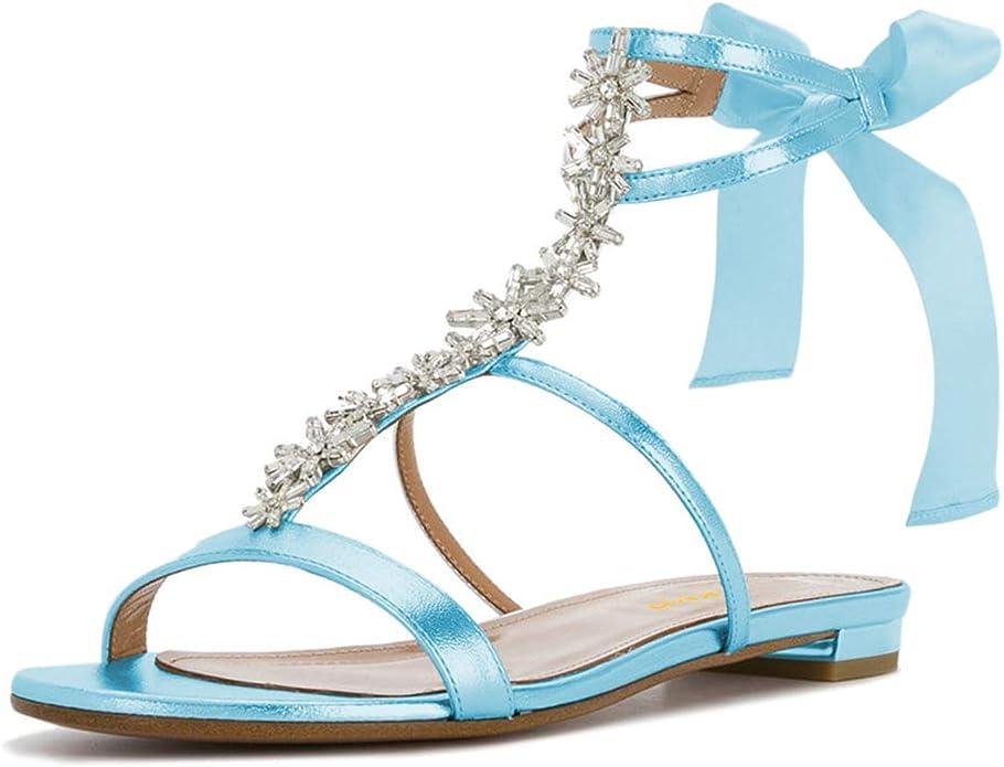 Details about  /Women Rhinestone Ankle Strap Flat Heel Sandals T-Strap Clip Toe Summer Shoes D