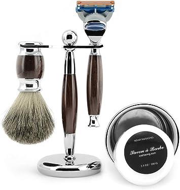 Set de afeitado para hombres Afeitadora manual + Brocha de melena ...