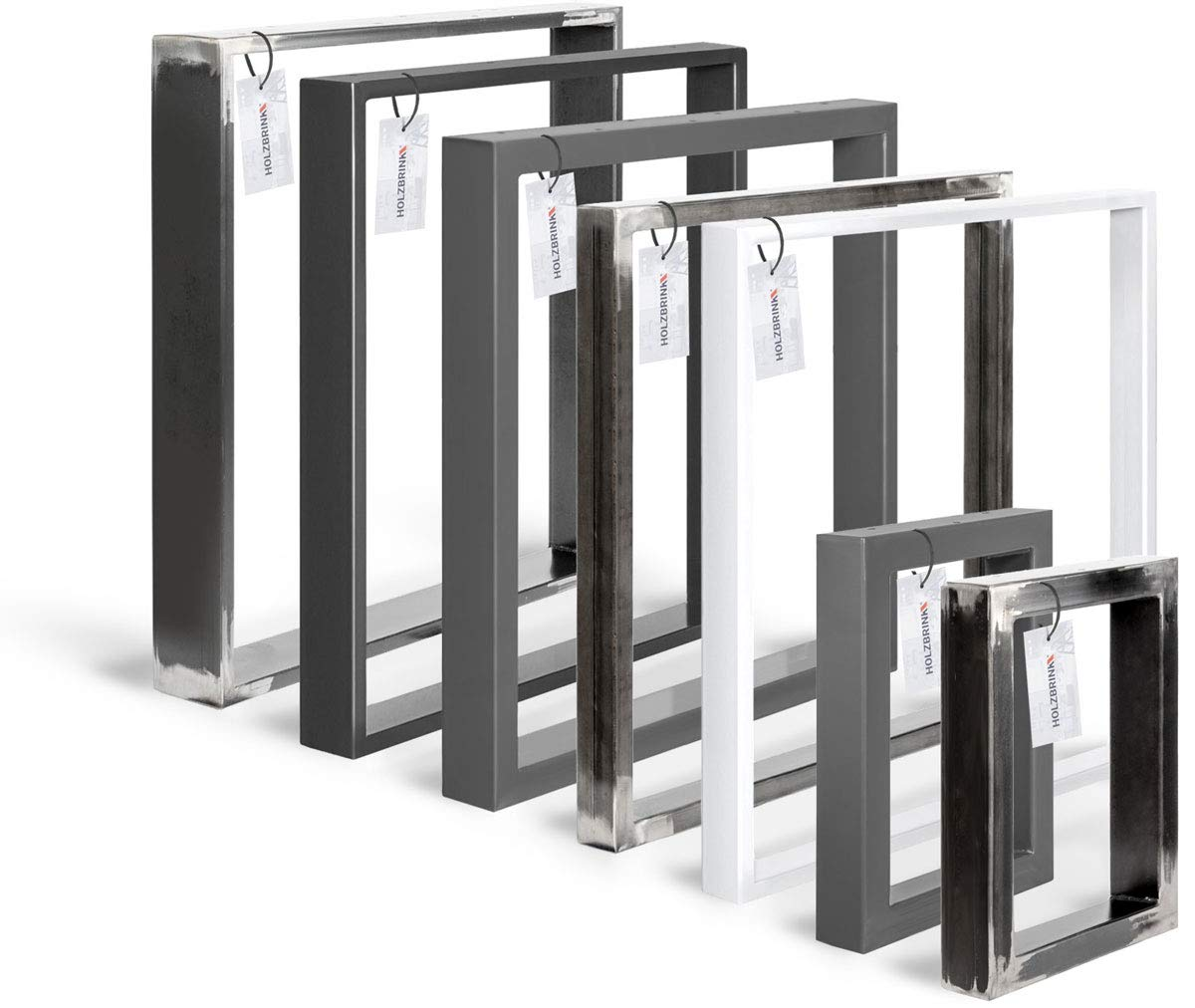 Acero pulido y lacado HOLZBRINK Patas de Mesa perfiles de acero 80x20 mm 1 Pieza HLT-01-C-CC-0000 forma de marco 60x72 cm
