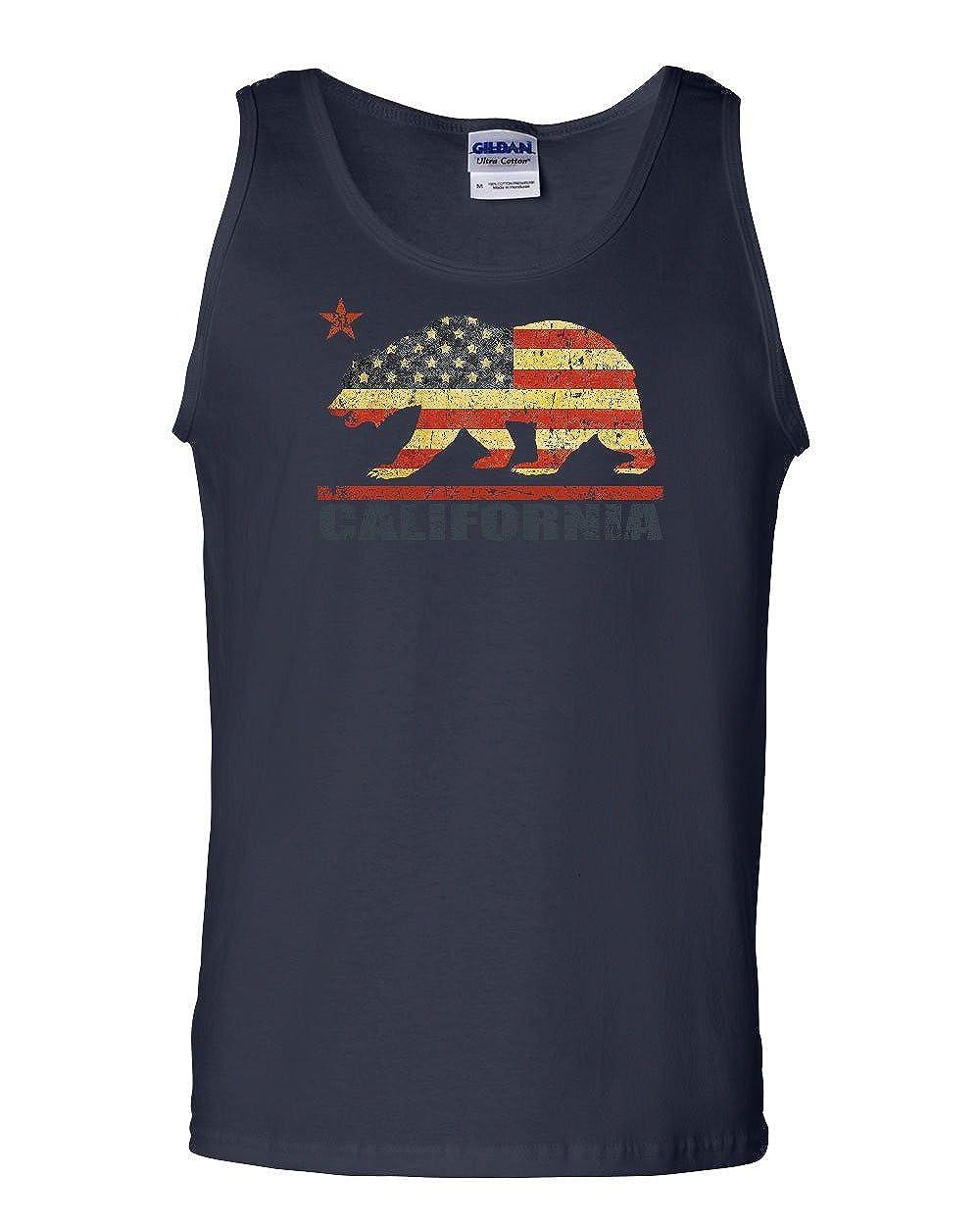 Tee Hunt Distressed California Republic Flag Tank Top Cali US Flag July 4 Sleeveless
