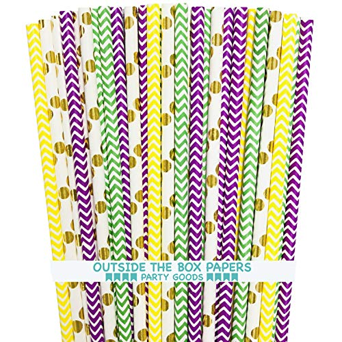 Mardi Gras Theme Paper and Foil Straws – Chevron Polka Dot – Green Purple Yellow Gold – 100 Pack Outside the Box Paper…