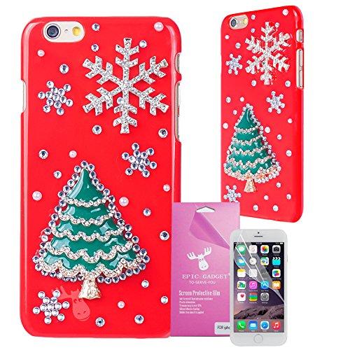 iPhone 6 Plus [5.5] Case, EpicGadet(TM) 3D Bling Luxury Christmas Tree with Snowflake Handmade Diamond Cover For Apple iPHone 6 Plus 5.5 inch + Free iPhone 6 Plus Screen Protector (US Seller!!) (Christmas Tree with Snowflake)