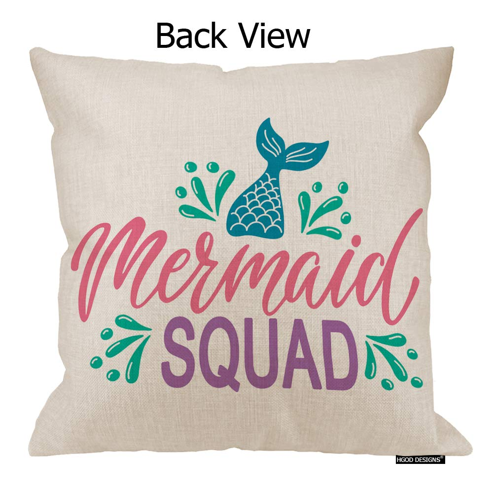 HGOD DESIGNS Mermaid Tail Pillow Cover,Summer Hand Drawn Inspiration Quote Mermaid Squad Cotton Linen Cushion Covers Home Decorative Throw Pillowcases 18x18inch
