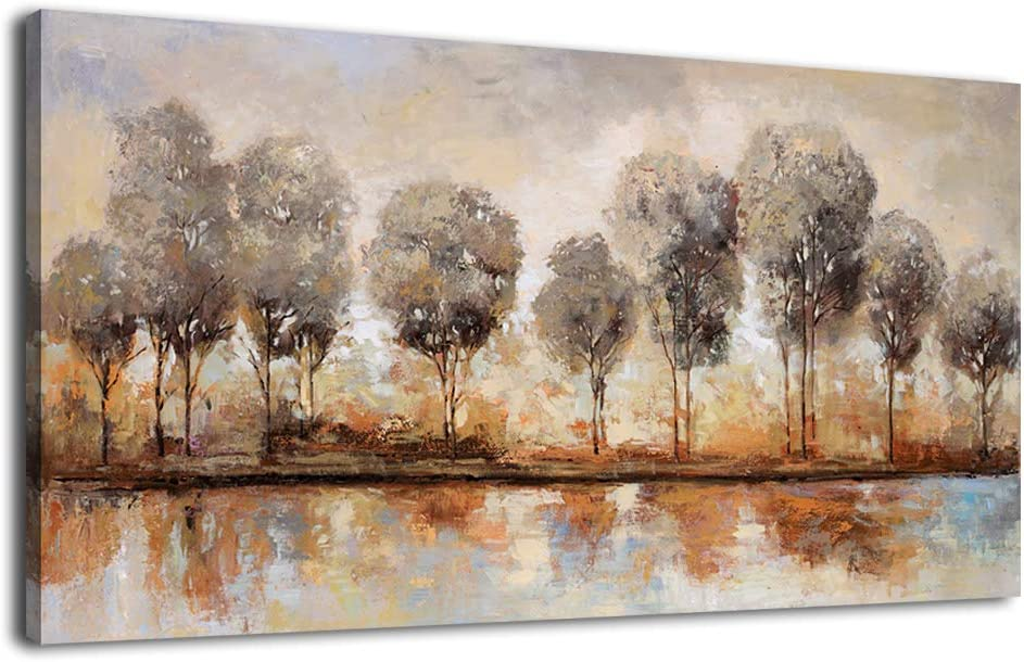 Abstract Forest Wall Art Trees Lake Beach Sunset Large Modern Landscape Abstract Artwork Canvas Pictures for Bedroom Bathroom Living Room Kitchen Office Home Wall Decor Contemporary Wall Art 20