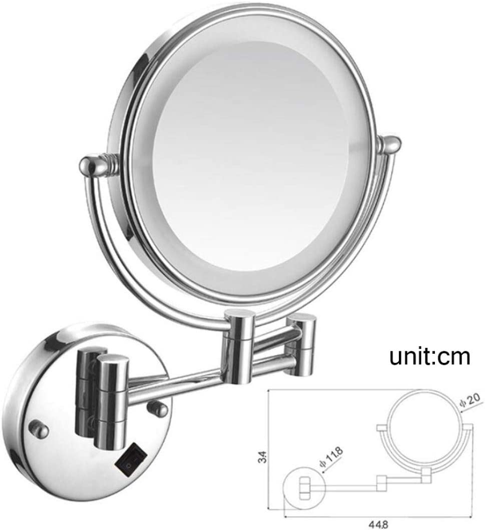 Wall Mounted Rotating Magnifying Shaving Beauty Mirror Hardwired Connection,Antique Brass/_8inch HIFM 5X Magnification Bathroom Makeup Vanity Mirror with LED Lights