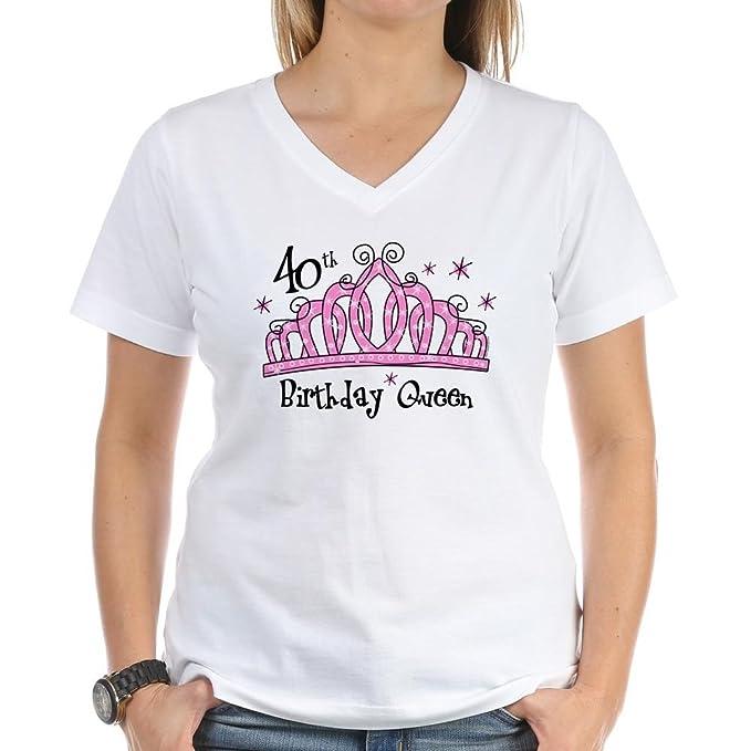 Tiara Queen diseño de 40 cumpleaños Mujer Cuello De Pico ...