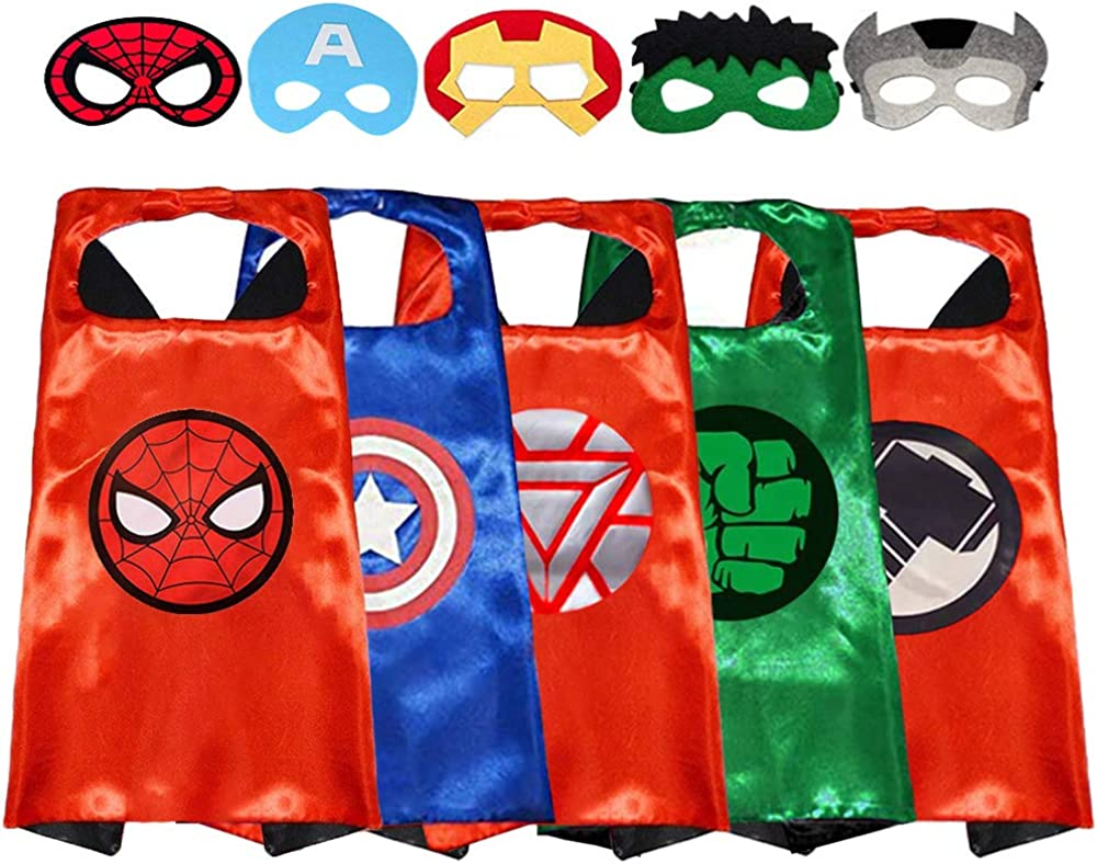 GREAMBABY Superhero Capes with Masks Dress up Costumes Halloween Cosplay Festival Birthday Party Favors for Kids