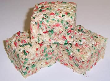 scotts cakes rice krispies treats with christmas colored jimmies in a 1 pound red polka dots