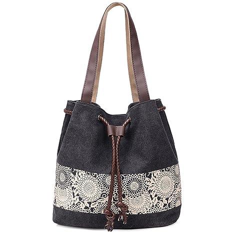 06f39334aea33 Vox Vintage Canvas Handbags for Women Hobo Shoulder Bag Canvas Black Tote  Bags (Black)