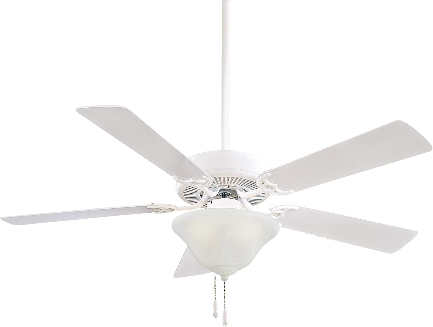 Minka-Aire F648-WH Protruding Mount, 5 White Blades Ceiling fan with 68 watts light, White
