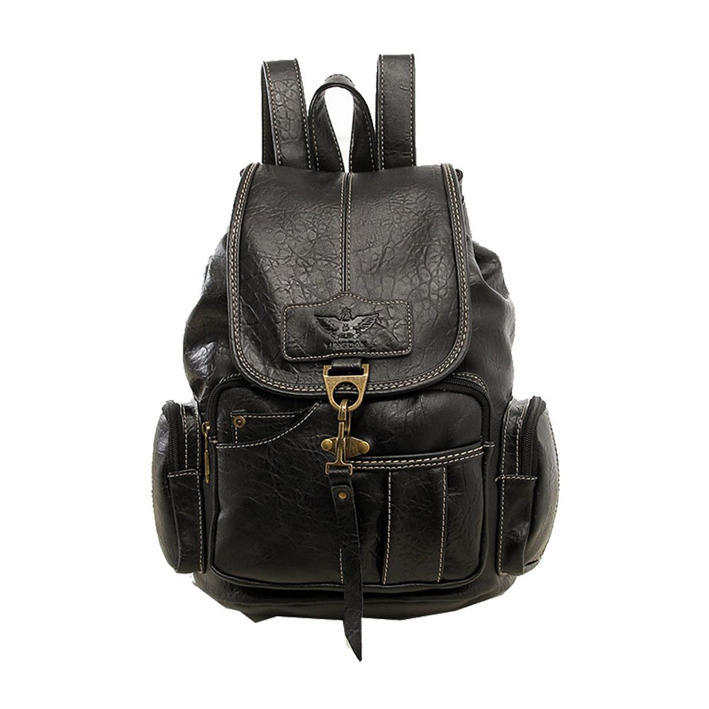 Women Backpack Vintage Backpacks for Teenage Girls Fashion Travel Pack Bags PU Leather Rucksack (Black)