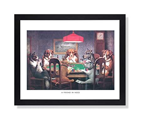 Dogs Playing Poker at Table Animal Picture Black Framed Art Print 1