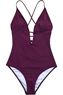 caa9bae2c4c83 CUPSHE Women's Remind Me Solid One-Piece Swimsuit Bathing Suit at ...