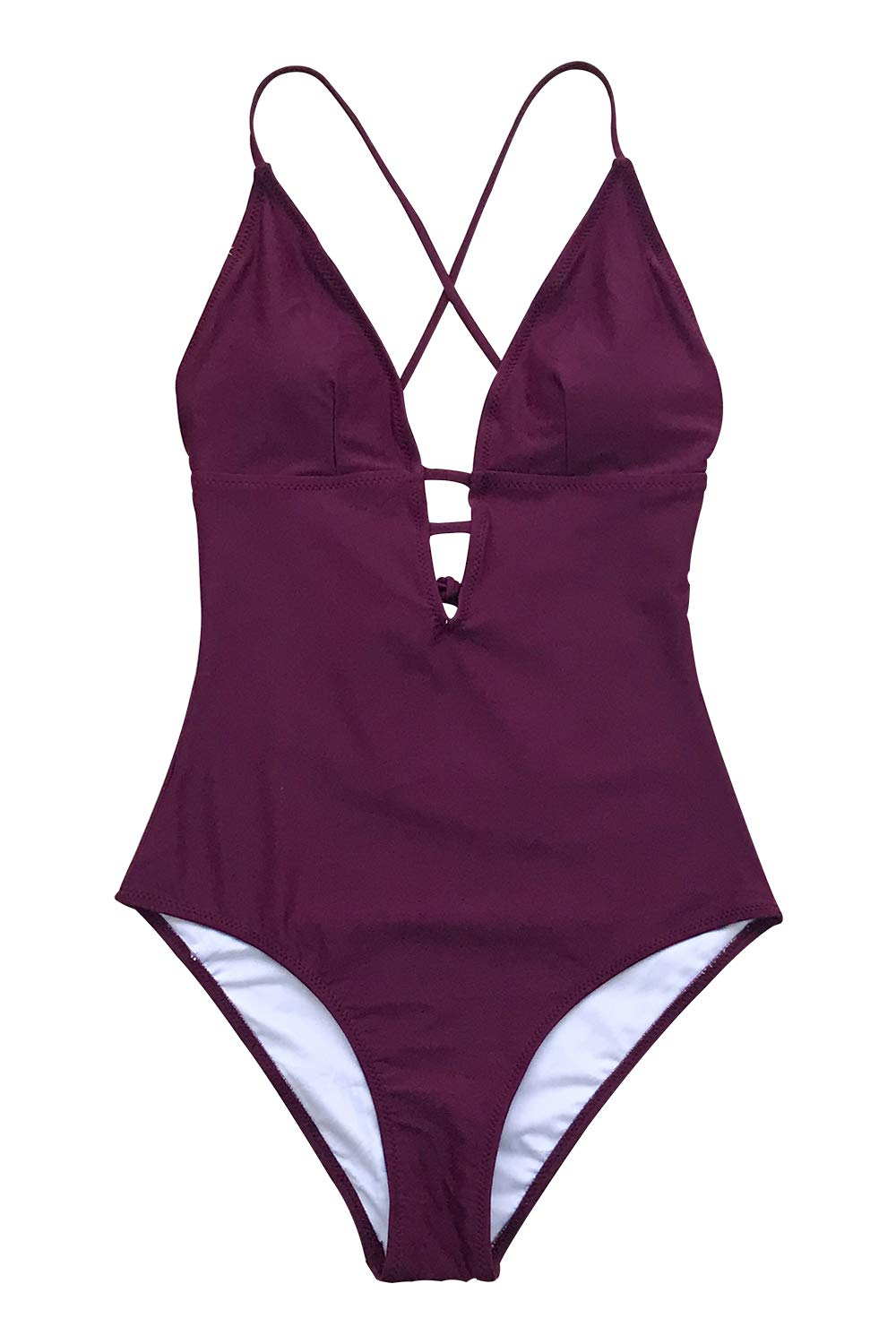 CUPSHE Women's Shirring Design V-Neck Low Back One Piece Swimsuit (X-Small (USA 0/2), Plum)