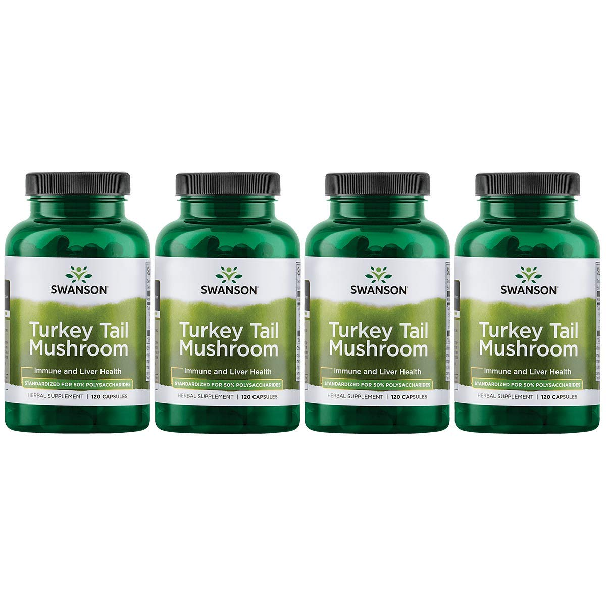 Swanson Turkey Tail Mushroom Supplements Immune Support Liver Support Cellular Health 500 mg 120 Capsules 4 Pack