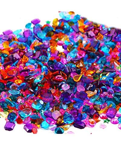 Acrylic Colorful Round Treasure for Wedding, Arts & Crafts, Birthday,Vase Fillers,Flatback Rhinestones Gemstone Embellishments Heart Star Square Oval and Round ()