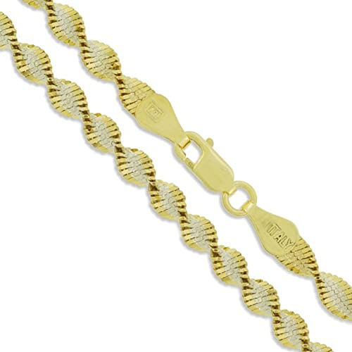 2MM Solid 925 Sterling Silver Italian Two Tone Twisted Snake /& Bead Chain Italy
