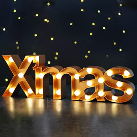 bright zeal big lighted christmas marquee signs xmas bronze battery operated - Lighted Christmas Signs