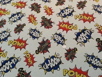 KA-BOOM - Tela elástica, novedad, estampado de comic, cartoon, jersey